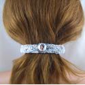 Handgestrickte weisse Haarspange groß in Berlin produziert