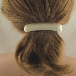 Neusilber Haarspange mittel geprägt Handarbeit in Berlin produziert