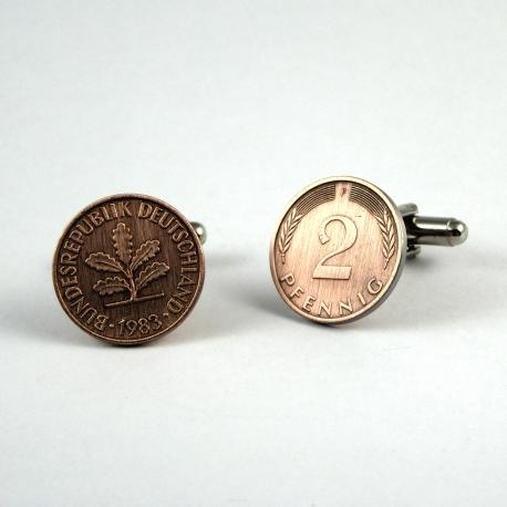2 Pfennig Manschettenknöpfe flach