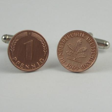 1 Pfennig Manschettenknöpfe flach