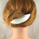 Ovale Neusilber-Haarspange gross gebürstet