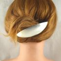 Ovale Neusilber-Haarspange gross gebürstet Handarbeit in Berlin produziert