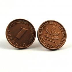1 Pfennig Ohrstecker flach