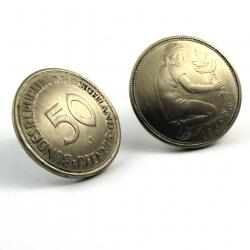 50 Pfennig Ohrstecker gewölbt