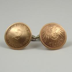 2 Deutsches Reich Pfennig Manschettenknöpfe 1874