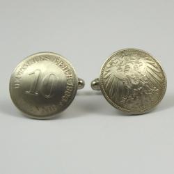 10 Deutsche Reichs Pfennig Manschettenknöpfe 1906